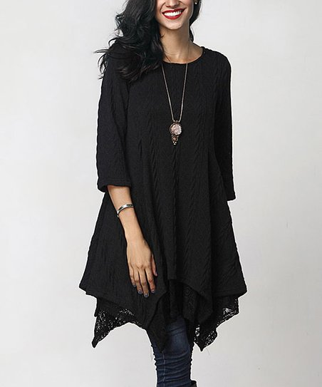 a721a6f7a33 Reborn Collection Black Cable Knit Handkerchief Lace-Layered Tunic ...