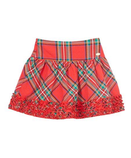 fb60641178 E-Land Kids Red & Green Tartan Plaid Skirt - Toddler & Girls | Zulily