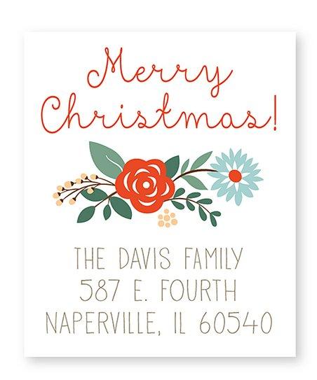 Christmas Return Address Labels.Sarah Abraham Floral Christmas Return Address Labels