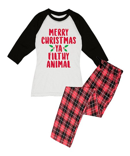 341e0aca love this product Red 'Merry Christmas Ya Filthy Animal' Pajama Set - Women