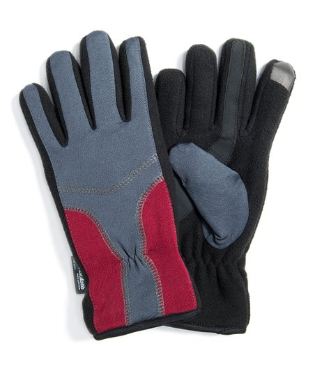Gray & Red Touchscreen Gloves