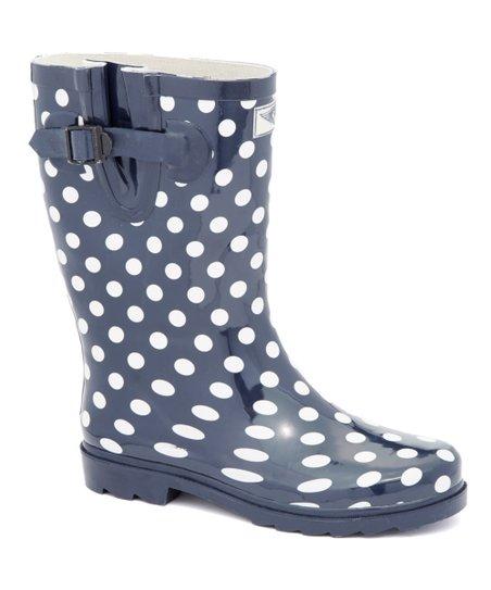 28e381cf0a09 love this product Navy Polka Dot Short Rain Boot - Women