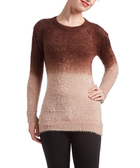 Universal Fashion Brown Fuzzy Crewneck Pullover Sweater Women Zulily