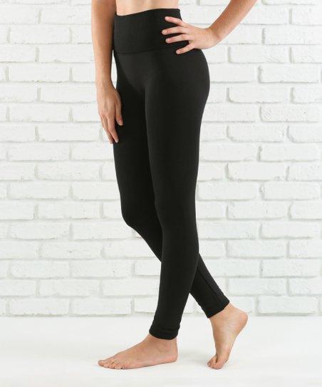 5bf51559e1ec42 love this product Black Lined Tummy-Control High-Waist Leggings - Women