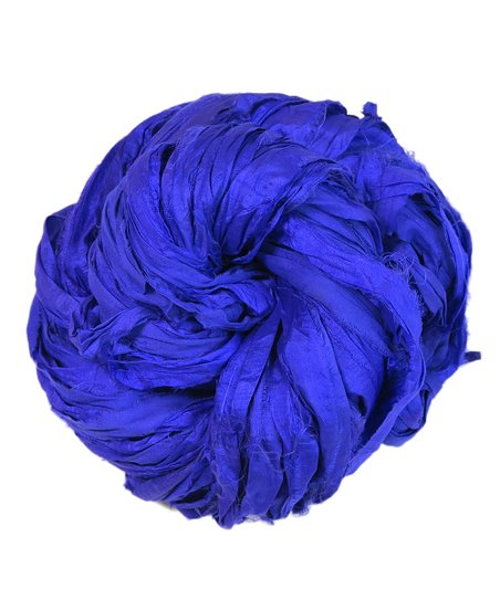Darn Good Yarn Mercury Blue Neon Handmade Sari Silk Ribbon Yarn