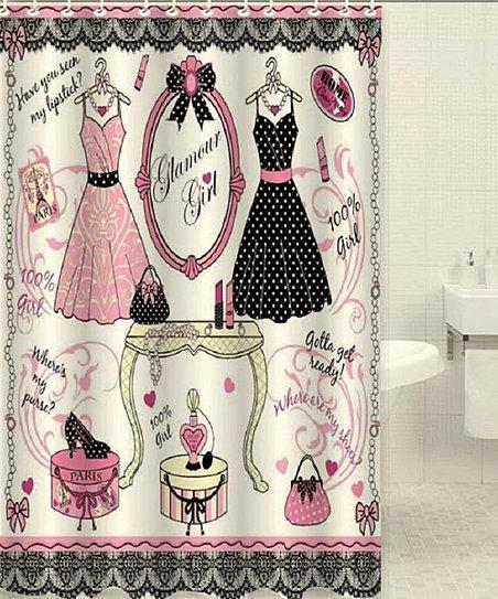 Ivory Pink Polka Dot Dress Shower Curtain