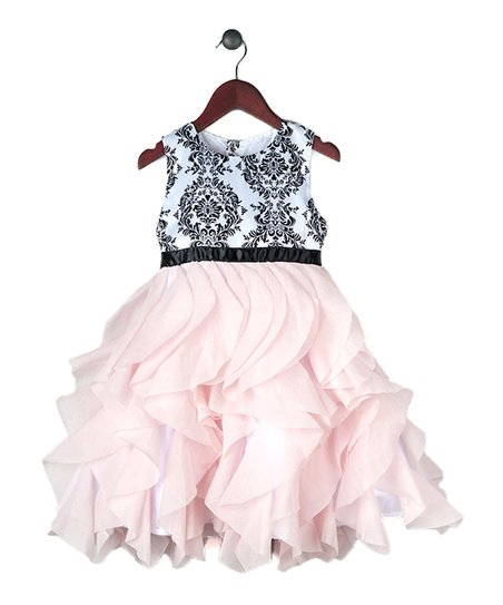 0f9d2a511d3786 love this product Pink   Black Damask Waterfall-Skirt Dress - Toddler    Girls