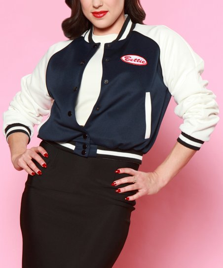 f822eb49ea17 love this product Navy   Off-White Bettie Letterman s Jacket