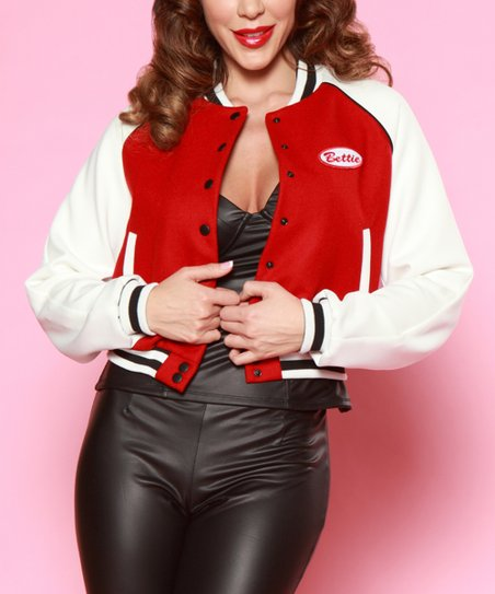 7e51378f9c4b love this product Red   Off-White Bettie Letterman s Jacket