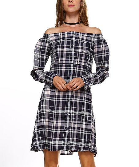 d152189218a0 love this product Navy Plaid Off-Shoulder Dress