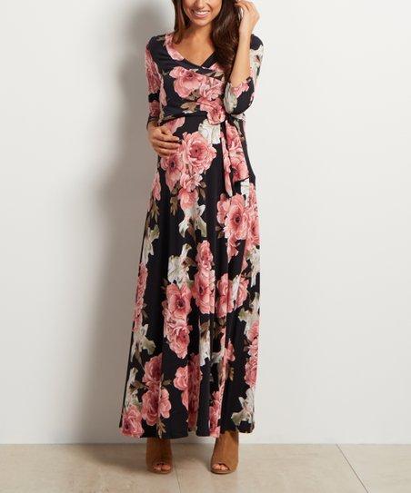 ca151978378 PinkBlush Maternity Black Floral Sash-Tie Maternity Nursing Maxi ...
