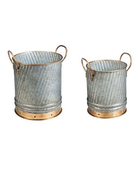 Love This Product Two Tone Metal Bucket Planter Set Of