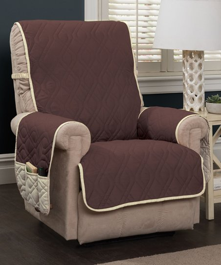Jeffrey Home Chocolate   Ivory Five-Star Recliner Protector  749cd80d8