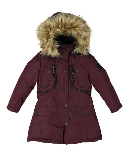 44f8f9033d17 Burgundy   Brown Faux Fur Zipper-Detail Hooded Coat - Girls