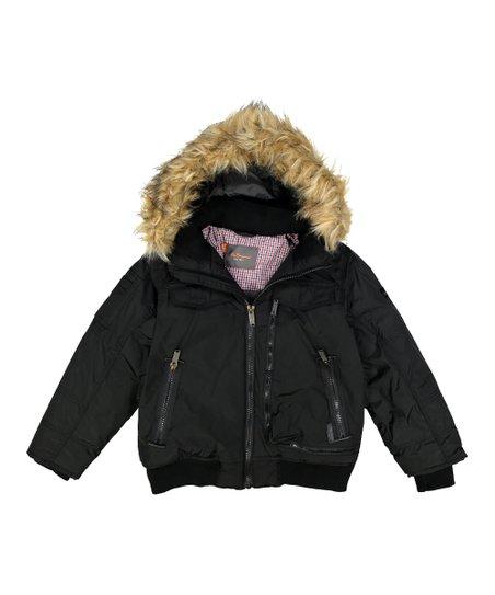 006815f75 Ben Sherman Black Faux Fur Hooded Bomber Jacket - Toddler   Boys ...