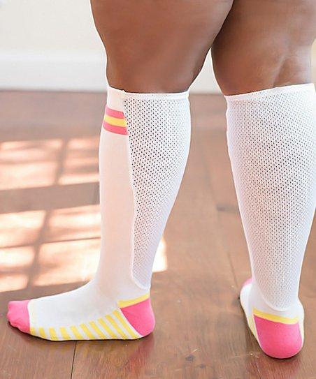 8703c06c7 love this product White   Pink XpandaSport™ Knee-High Socks - Women
