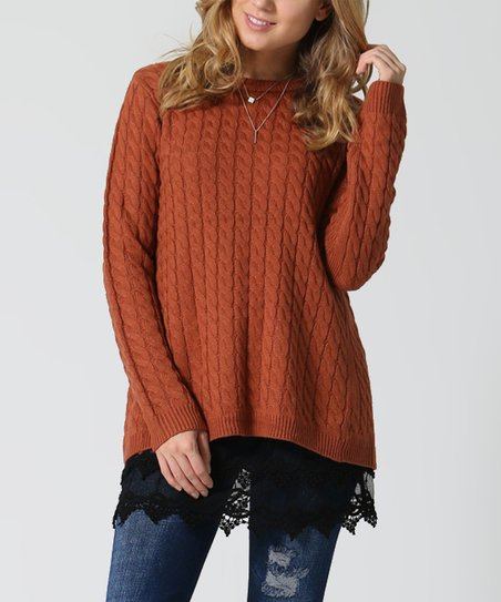 fa0c2264729 love this product Rust Cable Knit Relaxed Sweater