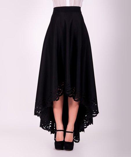 0188e36a88a41e ZEAN Black Lace-Trim Hi-Low Maxi Skirt | Zulily