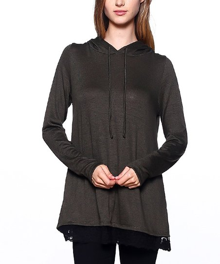 60274ef09c0 First Look Black Hoodie Tunic | Zulily