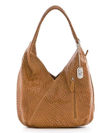 0421cd0cd22c Anna Morellini Cuoio Basket-Weave Leather Hobo Bag