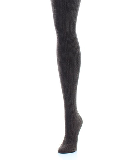 d3b60fc903219 MeMoi Brown Heather Textured Cable-Knit Sweater Tights | Zulily