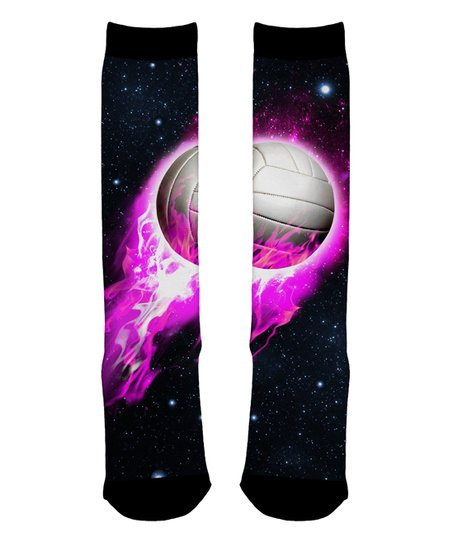 9e8d10ff9be love this product Black Flaming Volleyball Sublimated Knee-High Socks -  Toddler   Girls