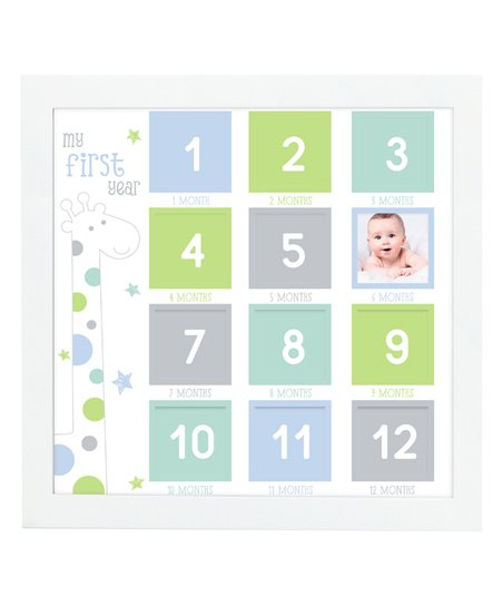 Tiny Ideas Blue Giraffe My First Year Frame Zulily