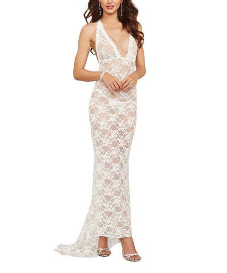 e03a54d2edb love this product Pearl White Sheer Lace Maxi Dress   G-String - Women
