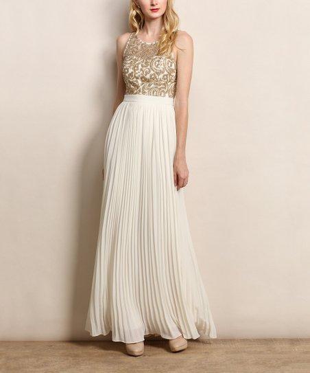 4da759a6489 Soiéblu Cream   Gold Embellished Swirl Maxi Dress