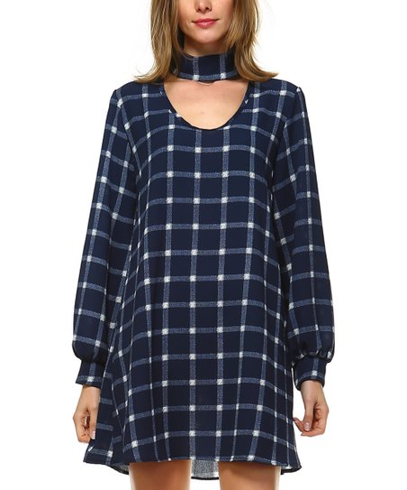 474ee98a522 love this product Navy Plaid Choker-Detail Blouson-Sleeve Dress