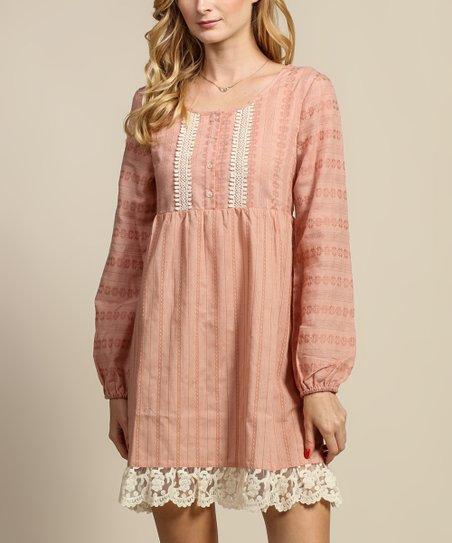 Tassels N Lace Blush Stripe Crochet Trim Empire Waist Dress
