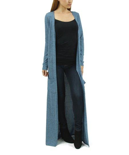 Casa Lee Heather Blue Floor-Length Open Cardigan - Women  a5717e1a1