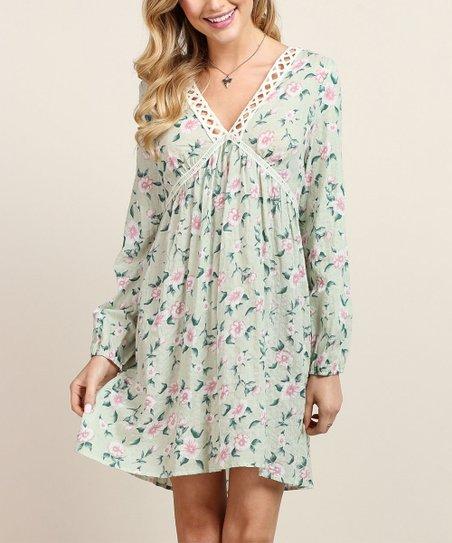 Tassels N Lace Jade Floral Crochet Accent V Neck Shift Dress