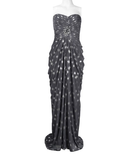 c88bec9dc697 love this product Silver   Gray Polka Dot Gathered Strapless Maxi Dress