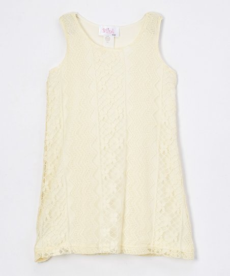 14abe42a70 Dimples   Blink Cream Zigzag Lace Sheath Dress - Girls