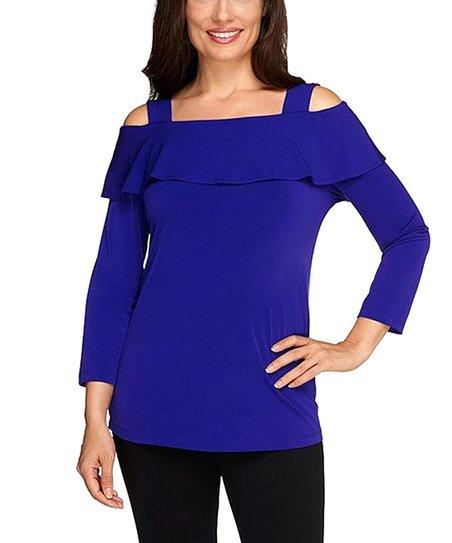 415f6f61b0a588 Susan Graver Electric Purple Ruffle Cold-Shoulder Top