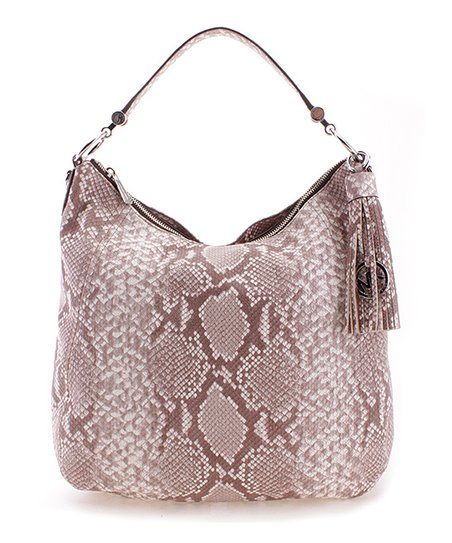 6e0d6ad045c20 Michael Kors Dark Sand Snake Frances Extra-Large Leather Shoulder ...