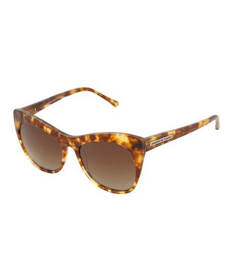 1359e97a02 Andrew Marc Honey Tortoise Extreme Cat-Eye Polarized Sunglasses