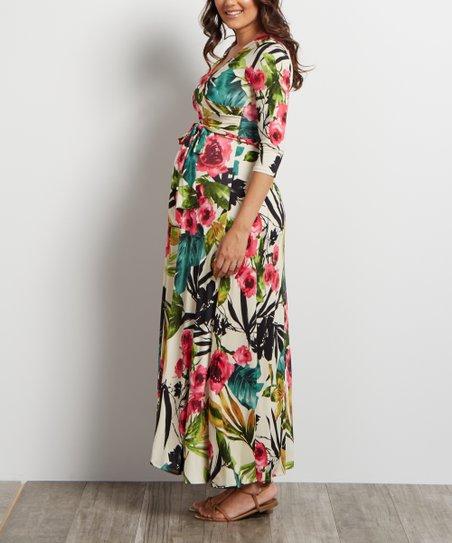 04097b21bc4 PinkBlush Maternity Cream Tropical Floral Maternity Maxi Dress