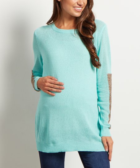 ad12c7c1c0886 PinkBlush Maternity Mint Green Sequin-Sleeve Maternity Sweater | Zulily