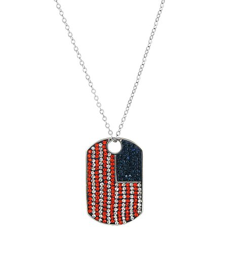 red blue dog tag pendant necklace with swarovski crystals zulily
