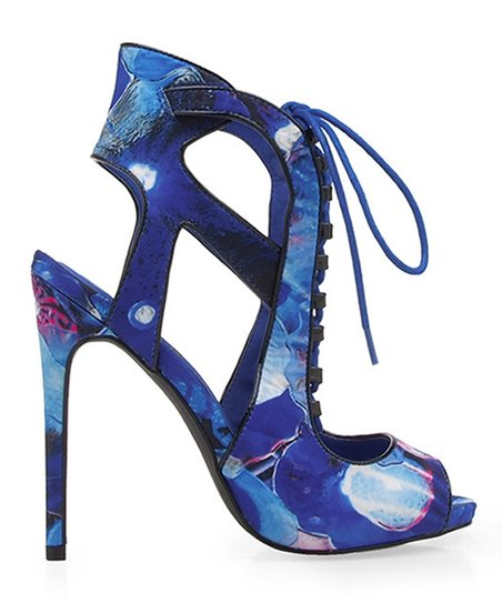 Privileged Royal Blue Floral Lace-Up