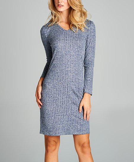 f4cd4f81384 love this product Navy Rib-Knit V-Neck Sweater Dress