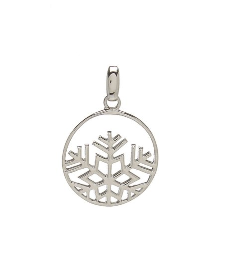 Vera & Co  Sterling Silver Circle Snowflake Pendant Necklace