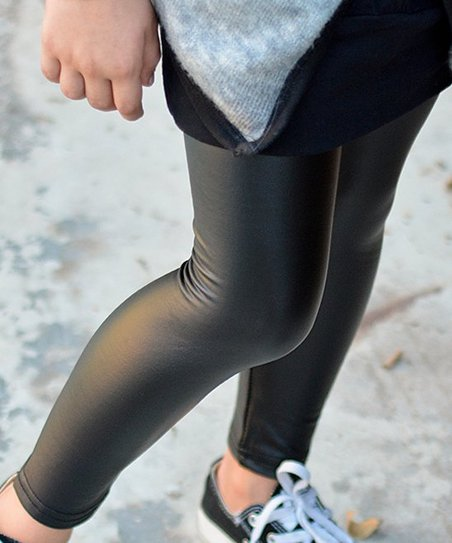 b49fc826a9503 POP Couture Black Faux Leather Leggings - Toddler & Girls | Zulily