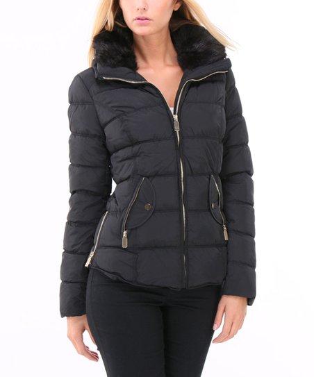f6342b795 Colynn Italy Black Faux Fur-Collar Zip-Up Puffer Jacket