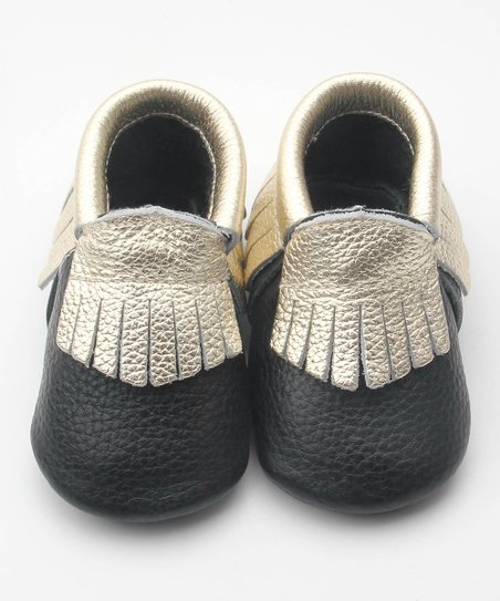 7ffb11ac596 love this product Black   Gold Fringe Anti-Skid Leather Moccasin - Girls