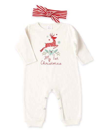 736e190fb9e6 Tesa Babe Cream   Red My 1st Christmas Romper   Headband - Newborn ...
