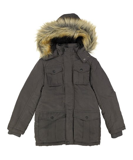 f6117333879 Urban Republic Charcoal Gray Faux-Fur Hood Jacket - Boys
