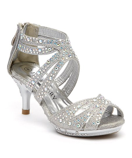 562619455e6 love this product Silver Rhinestone Caged Dressy Shoe - Girls